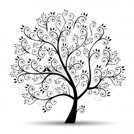 Illustration for Art tree beautiful, black silhouette - Royalty Free Image