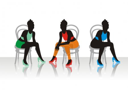 The beautiful girls sits on a chairs