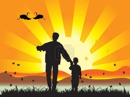 Illustration pour Heureuses promenades en famille sur la nature, coucher de soleil - image libre de droit