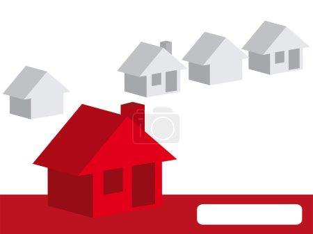 Illustration pour Votre maison parmi les autres maisons - image libre de droit