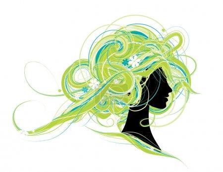 Illustration pour Silhouette de tête de femme, conception de coiffure - image libre de droit