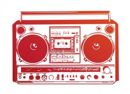 Photo pour Illustration de boombox vintage - image libre de droit