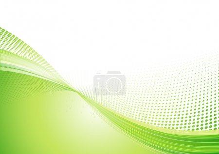 Photo pour Illustration d'un fond techno abstrait vert composé de points et de lignes courbes. Idéal pour les arrière-plans ou superposition sur d'autres images - image libre de droit