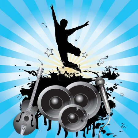 Illustration pour Silhouette d'homme, sauts, haut-parleurs, guitare, microphone sur fond de rayons bleus . - image libre de droit
