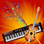 Постер, плакат: Musical notes and instruments