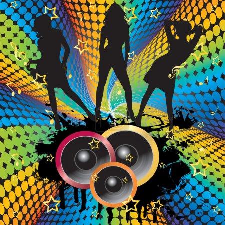 Illustration pour Silhouettes de danseuses sur fond de haut-parleurs, les étoiles et les rayons . - image libre de droit