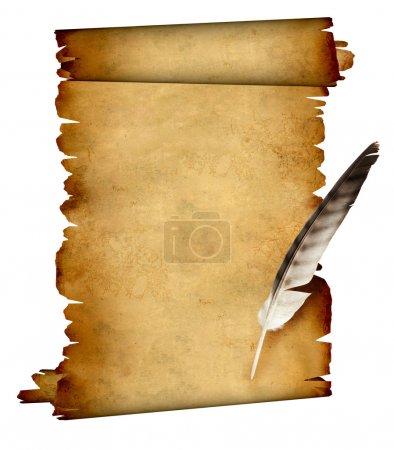 Foto de Rollo de pergamino y pluma. aislado en blanco - Imagen libre de derechos