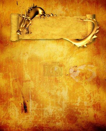 Photo pour Fond grunge avec dragon et rouleau de vieux parchemin - image libre de droit