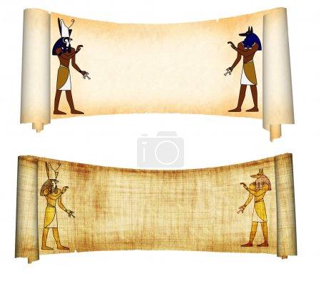 Photo pour Rouleaux avec des images des dieux égyptiens - Anubis et Horus. Objet sur blanc - image libre de droit