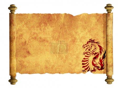 Photo for Sheet of ancient parchment with the image of dragons - Royalty Free Image