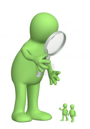 Giant with a magnifier and small