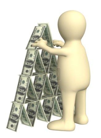 Photo pour Marionnette 3D, faisant une pyramide avec de l'argent. Objets sur blanc - image libre de droit
