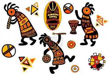 Illustration pour Motifs traditionnels africains vectoriels - musiciens danseurs - image libre de droit