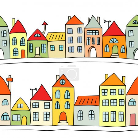 Seamless vector background with houses