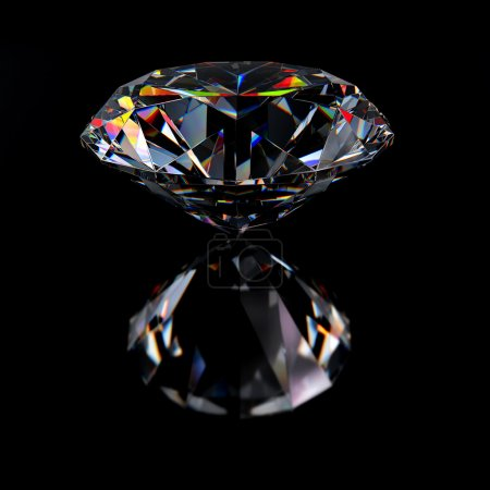 Photo for Diamond jewel with reflections on black background - Royalty Free Image