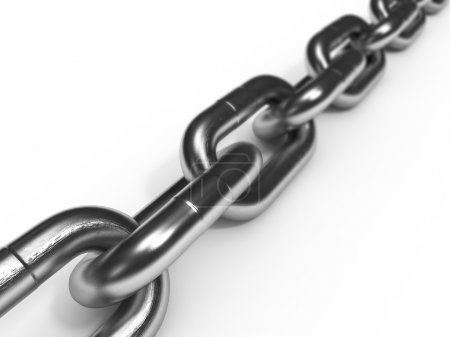 Photo for Close-up of iron chain isolated on white background - Royalty Free Image
