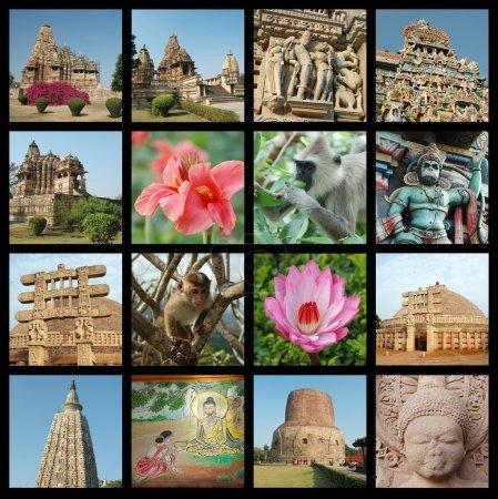 Photo pour Collage Go India - arrière-plan avec des photos de voyage de monuments indiens - image libre de droit