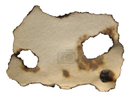 Photo pour Papier brûlé sur fond blanc - image libre de droit
