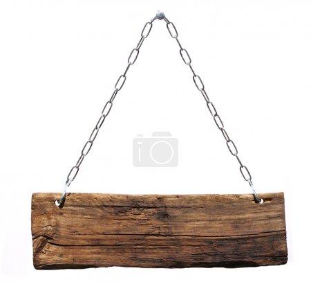 Photo pour Panneau bois, suspendu à une chaîne - image libre de droit
