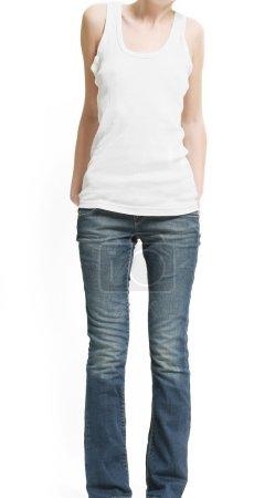 Photo pour Forme de femme mince en chemise et jeans (isolé sur fond blanc ) - image libre de droit