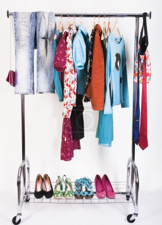 Clothing and shoes on the rack