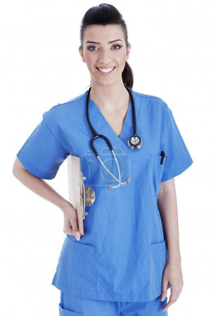 Portrait of nurse holding the clipboard