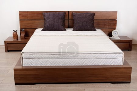 Photo for Modern wooden finished double bedroom - Royalty Free Image