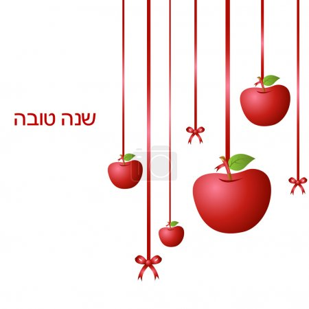 Photo for Illustration of hanging apples with ribbon on isolated background symbolising Rosh Hashanah - Royalty Free Image