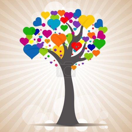 Photo pour Illustration de l'arbre avec des feuilles de coeur sur fond de soleil - image libre de droit