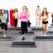 Image of group of women in a steps class at the gy...