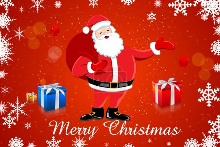 Photo for Illustration of santa claus with his bag and gifts on snowy background - Royalty Free Image