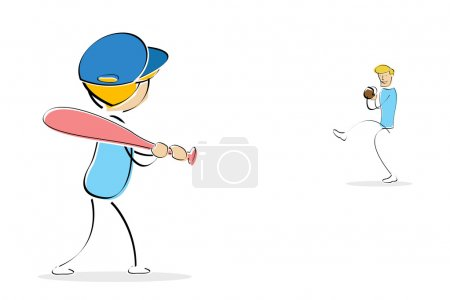 Photo for Illustration of little boy playing baseball with his father - Royalty Free Image