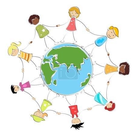 Photo pour Enfants heureux multiraciales tenant leurs mains autour de l'illustration du globe - image libre de droit
