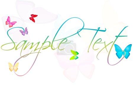 Photo pour Illustration d'un exemple de texte avec des papillons sur un fond isolé - image libre de droit