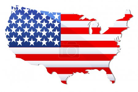 Photo for Illustration of flag of united states of america in shape of geographical map - Royalty Free Image