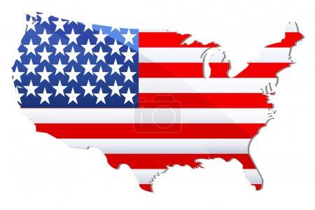 Photo pour Illustration du drapeau des États-Unis d'Amérique sous forme de carte géographique - image libre de droit