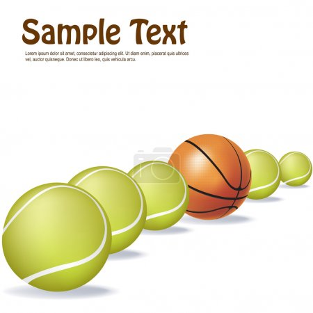 Photo for Illustration of tennis and basket ball in a row with sample text - Royalty Free Image