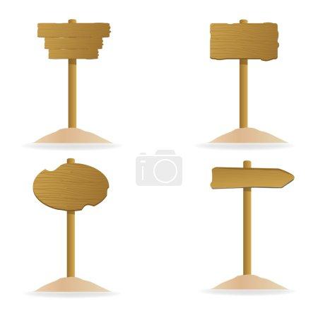 Photo pour Illustration de l'ensemble de différentes planches de bois sur fond isolé - image libre de droit
