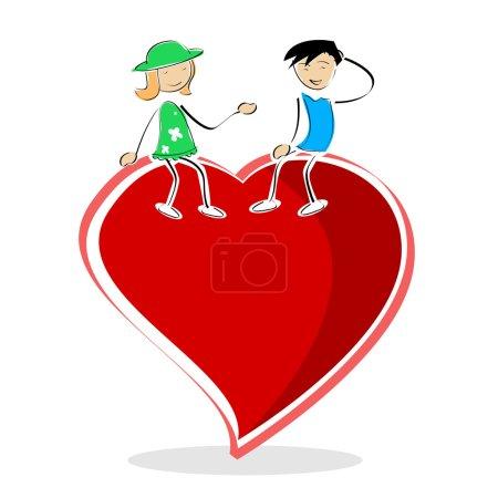 Photo pour Illustration de carte de Saint-Valentin avec garçon et fille assis sur le cœur sur fond blanc - image libre de droit