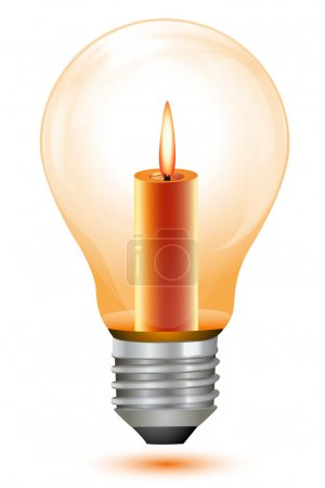 Photo pour Illustration de ampoule de bougie sur fond blanc - image libre de droit