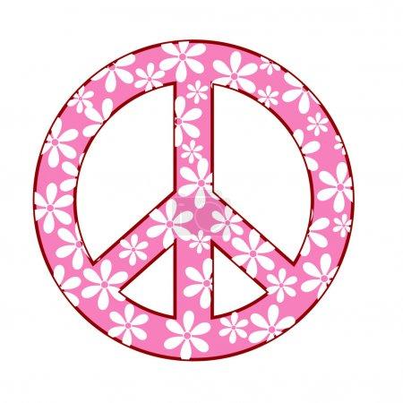 Photo pour Illustration du symbole de la paix avec texture floral - image libre de droit