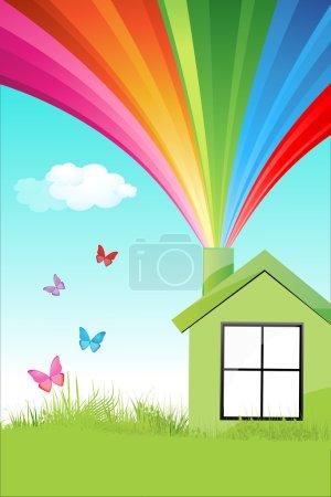 Photo pour Illustration de maison naturel coloré - image libre de droit