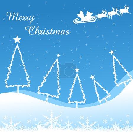 Merry christmas card with xmas tree