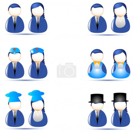 Photo for Illustration of set of human icon of different profession on white background - Royalty Free Image