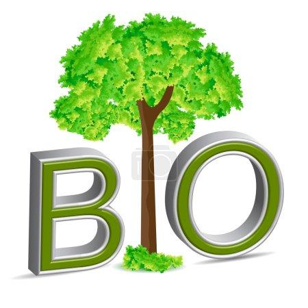 Photo pour Illustration de bio arbre sur fond blanc - image libre de droit