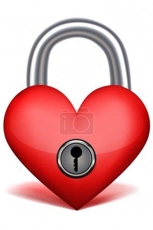 Photo pour Illustration de serrure d'amour sur fond isolé - image libre de droit