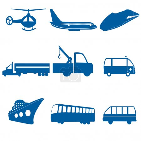 Photo for Illustration of transportation icons on white background - Royalty Free Image