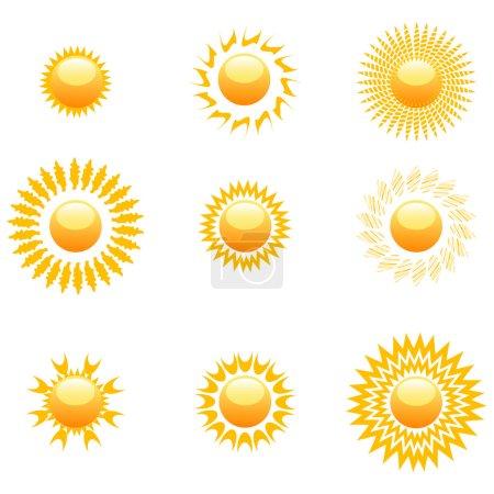 Photo for Illustration of shapes of sun on white background - Royalty Free Image