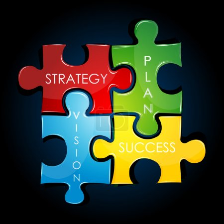 Photo for Illustration of business strategy and plan against black background - Royalty Free Image