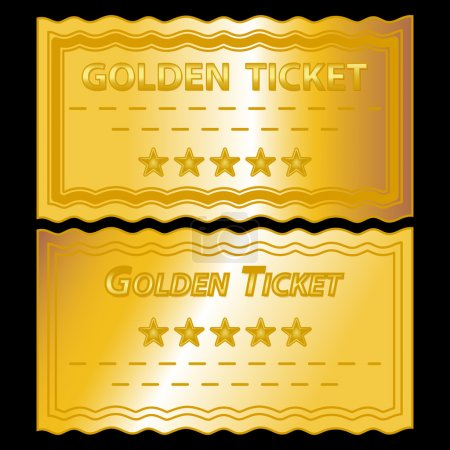 Photo for Illustration of golden tickets on black background - Royalty Free Image
